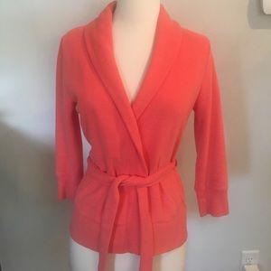 J Crew cotton cardigan/blazer waist tie Coral